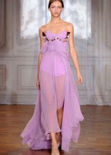 Лиловое вечернее легкое платье с косым кроем