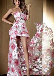 Вечернее платье из шифона с принтом