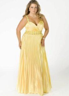 Нарядное вечернее платье большого размера длинное желтое