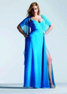 Нарядное платье для полных с разрезом