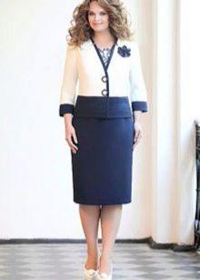 Бело-синий нарядный костюм
