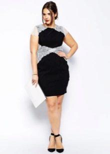 Нарядное платье для полных черно-белое вечернее