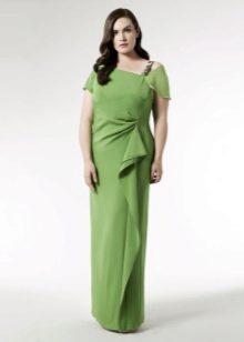 Зеленое нарядное вечернее платье для полных