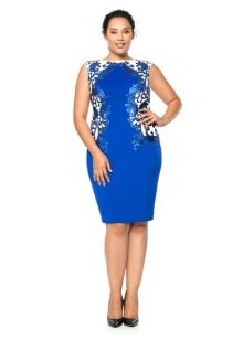 Синее нарядное вечернее платье для полных