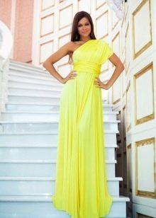 Желтое недорогое платье на одно плечо