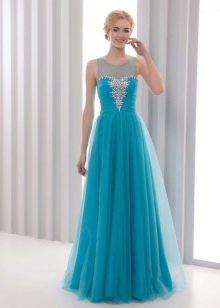 Вечернее недорогое голубое платье