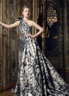 Вечернее платье на одно плечо в тигровом стиле