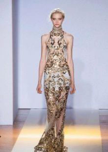 Вечернее платье короткое с золотом