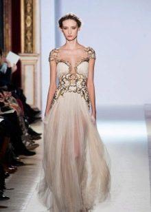 Вечернее платье с золотистым узором