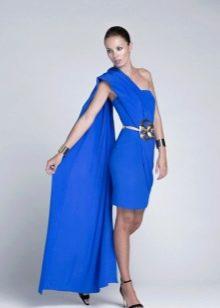 Короткие синее платье на одно плечо вечернее