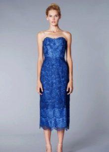 Кружевное вечернее платье синее миди