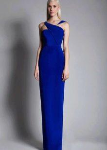 Вечернее синее платье-футляр в пол
