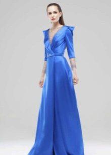 Вечернее синее платье с рукавами