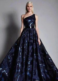 Черно-синее вечернее платье пышное