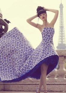 Сине-белое вечернее платье со шлейфом