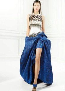 Бело-синее вечернее платье