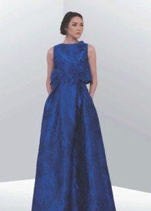 Синее закрытое вечернее платье