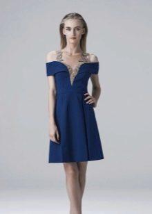 Синее вечернее платье короткое