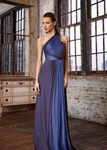 Синее платье вечернее на одно плечо