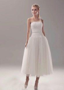 Свадебное платье миди с заниженной талией