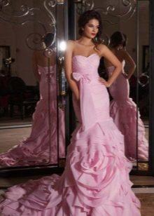 лиловое свадебное платье русалка с корсетом