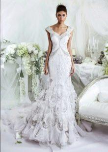 Свадебное платье годе с корсетом на бретелях