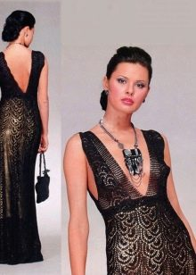 Вечернее платье крючком связанное ленточным кружевом