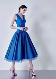 Синее вечернее платье с корсетом синее