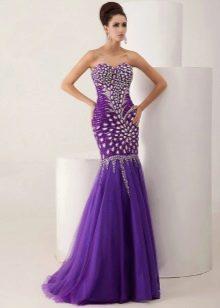 Вечернее платье русалка фиолетовое