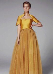 Пышное вечернее платье с корсетом горчичного цвета