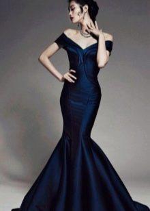 Вечернее синее платье русалка
