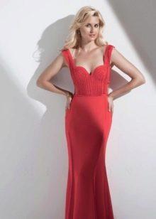 Вечернее платье с корсетом и лямками