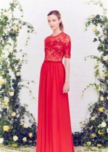 Вечернее платье с кружевным лифом