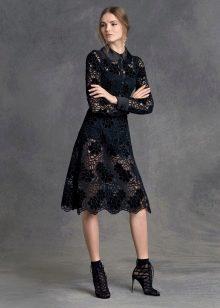 Короткое платье с воротником кружевное вечернее