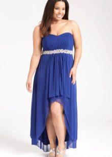 Синее вечернее платье короткое спереди длинное сзади открытое для полных