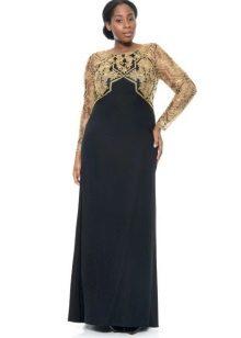 Черное вечернее платье с золотым лифом для полных на свадьбу