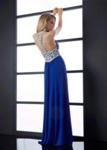 Синее вечернее платье в пол с открытой спиной