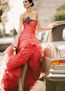Вечернее платье короткое спереди длинное сзади от Армани