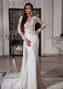Свадебное платье русалка с кружевом