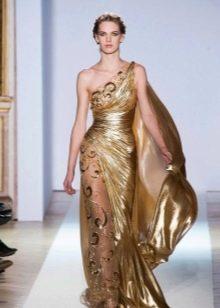 Вечернее платье в греческом стиле золотое