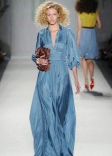 Вечернее синее платье рубашка
