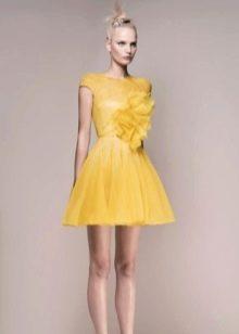 Желтое вечернее платье короткое