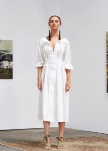 Белое короткое вечернее платье-рубашка