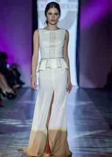 Вечернее платье прямое  из коллекции Privee 2014 с баской