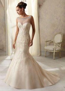 Свадебное платье русалка с жемчугом