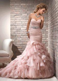 Свадебное платье русалка в розовое