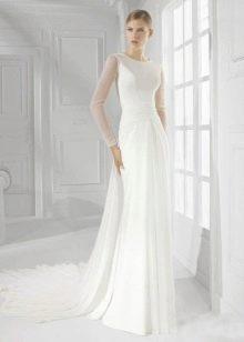 Свадебное платье закрытое с прозрачным рукавом 2016