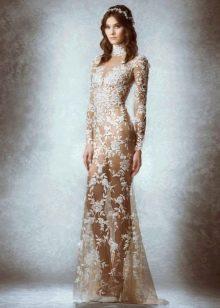 Полупрозрачное кружевное свадебное платье от Зухаира Мурада