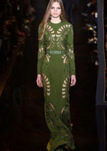 Зеленое вечернее платье с перфорацией