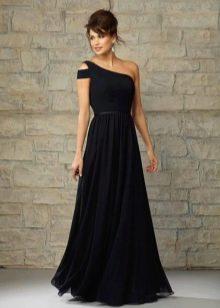 Черное платье вечернее на одно плечо для женщин 40 лет
